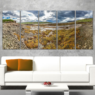 Designart Beautiful Iceland Coast Panorama Landscape Print Wall Artwork - 5 Panels