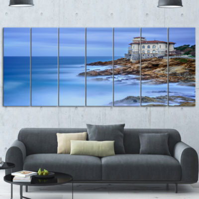 Designart Beautiful Italian Seashore View SeascapeCanvas Art Print 7 Panels