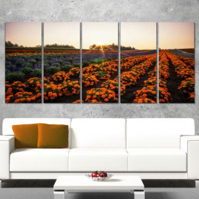 Designart Beautiful Japanese Flower Farm Floral Wrapped Canvas Art Print - 5 Panels
