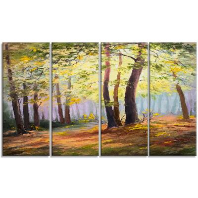 Designart Spring Forest with Sunlight Landscape Art Print Canvas - 4 Panels