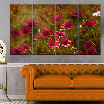Designart Spring Garden with Little Red Flowers Large FloralCanvas Artwork - 4 Panels