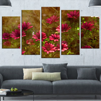 Designart Spring Garden with Little Red Flowers Large FloralCanvas Artwork - 5 Panels
