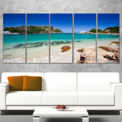 Designart Beautiful Knysna Beach South Africa Large Seashore Wrapped Canvas Print - 5 Panels