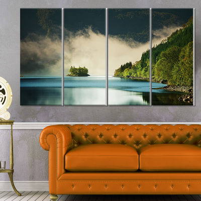 Designart Beautiful Lake By Green Mountains ExtraLarge Landscape Canvas Art - 4 Panels