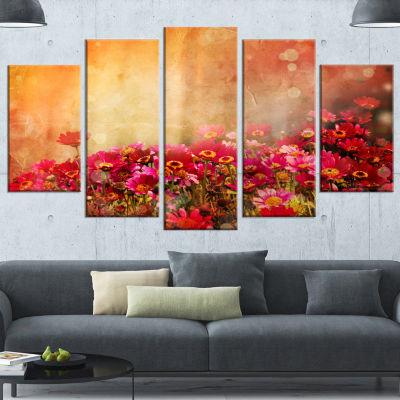 Spring Little Flowers at Sunset Large Floral Canvas Artwork - 5 Panels