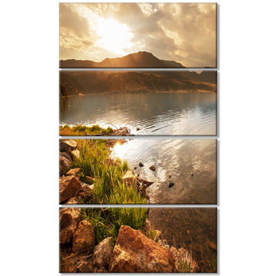 Designart Beautiful Lake with Rocky Shore Oversized Landscape Canvas Art - 4 Panels