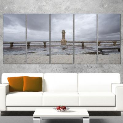 Designart Spring Storm in Uruguay Panorama BridgeCanvas ArtPrint - 4 Panels