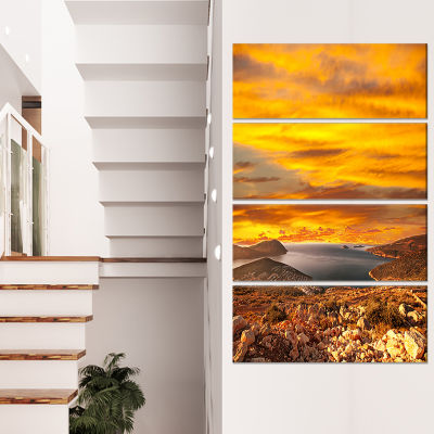 Designart Beautiful Landscape Under Yellow Sky Landscape Canvas Art Print - 4 Panels