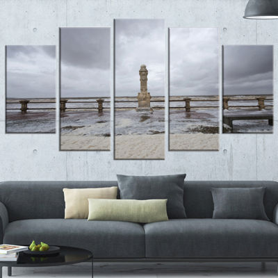 Designart Spring Storm in Uruguay Panorama BridgeWrapped Art Print - 5 Panels