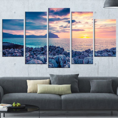 Spring Sunset Over Monte Cofano Landscape Photography Canvas Print - 4 Panels