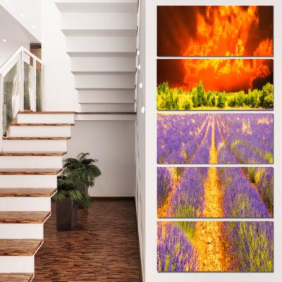 Designart Beautiful Lavender Field and Sunset Floral Canvas Art Print - 5 Panels