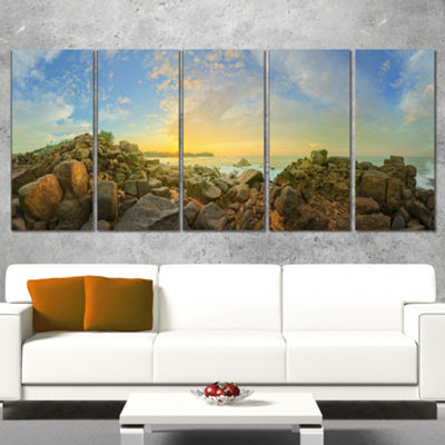 Designart Sri Lanka Romantic Beach Panorama LargeSeascape Art Canvas Print - 4 Panels