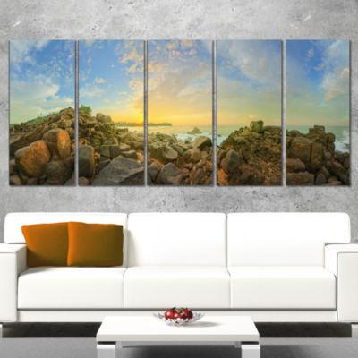 Designart Sri Lanka Romantic Beach Panorama LargeSeascape Art Canvas Print - 5 Panels
