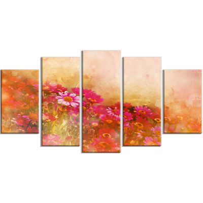 Designart Beautiful Little Flowers in Spring LargeFloral Wrapped Canvas Artwork - 5 Panels
