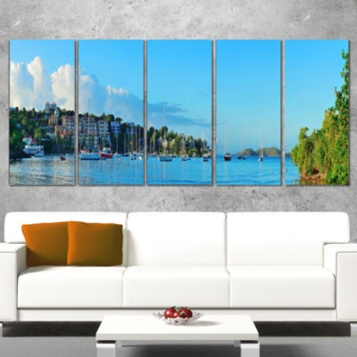 Designart St John Bay Panoramic View Extra Large Seashore Canvas Art - 5 Panels