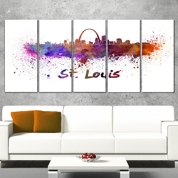 Designart St Louis Skyline Cityscape Canvas Artwork Print -4 Panels