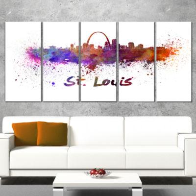 Designart St Louis Skyline Cityscape Canvas Artwork Print -5 Panels