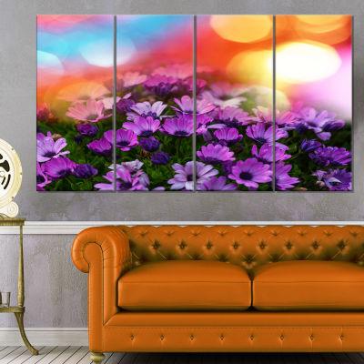 Designart Beautiful Little Purple Flowers FloralCanvas Art Print - 4 Panels