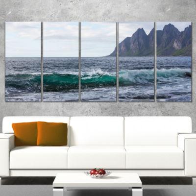 Designart Beautiful Lofoten Island Norway Large Seashore Canvas Print - 4 Panels