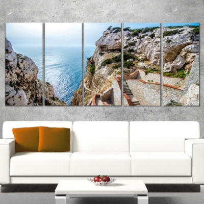 Designart Stairway To Neptune S Grotto Seascape Wrapped ArtPrint - 5 Panels
