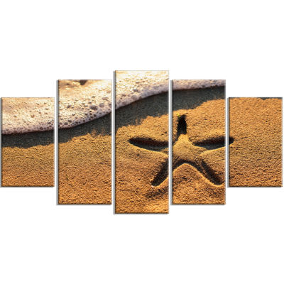 Starfish on Beach with Waves Large Beach Wrapped Wall Art - 5 Panels