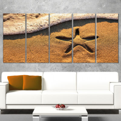 Starfish on Beach with Waves Large Beach Canvas Wall Art - 5 Panels