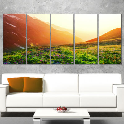Designart Beautiful Meadow On Sunny Day OversizedLandscape Canvas Art - 5 Panels