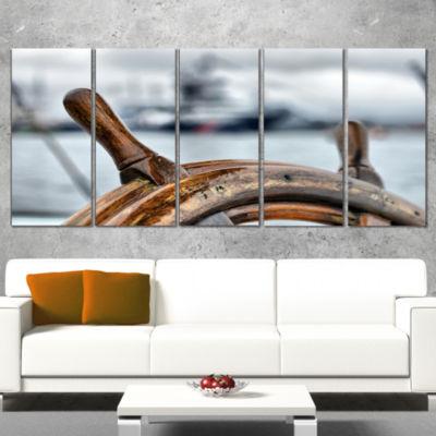Steering Wheel Sailboat Landscape Photography Canvas Art Print - 4 Panels