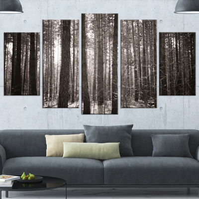 Designart Beautiful Misty Forest in The Autumn Forest Canvas Art Print - 5 Panels