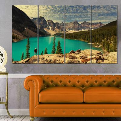 Designart Beautiful Moraine Mountain Lake Large Landscape Canvas Art - 4 Panels