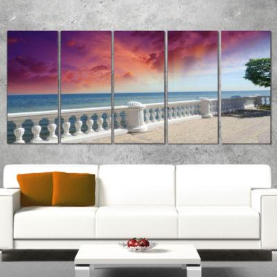 Designart Stone Balcony with Ocean View Seashore Photo Canvas Art Print - 5 Panels