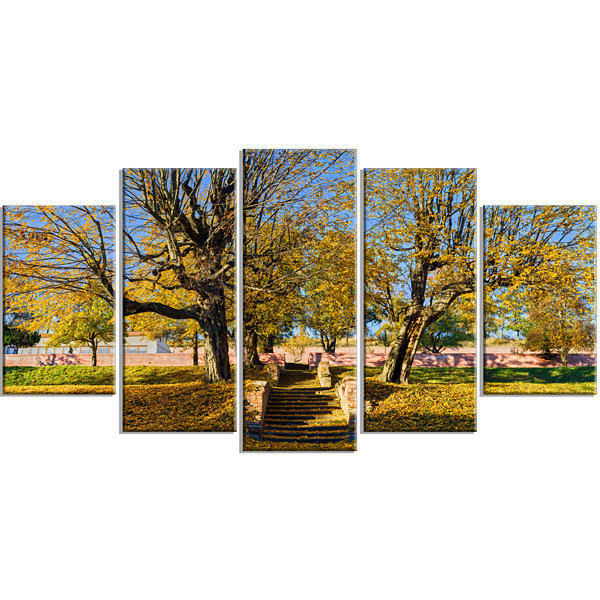 Designart Stone Stairs in Park in Fall Landscape Wrapped ArtPrint - 5 Panels