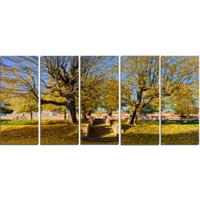 Designart Stone Stairs in Park in Fall Landscape Canvas ArtPrint - 5 Panels
