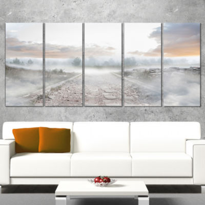 Designart Stony Path To Misty Forest Landscape Photo CanvasArt Print - 4 Panels