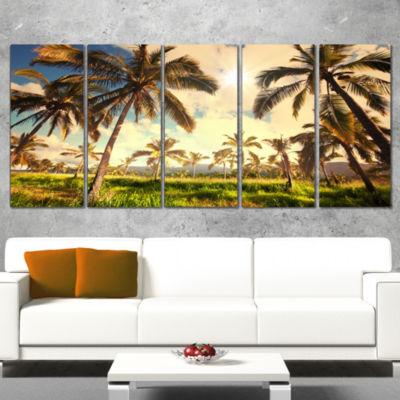 Designart Beautiful Palm Plantation in Hawaii African Landscape Wrapped Canvas Art Print - 5 Panels
