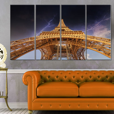 Storm Above Paris Paris Eiffel Towerin Paris Cityscape Canvas Print - 4 Panels