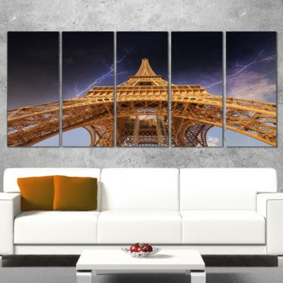 Designart Storm Above Paris Paris Eiffel Towerin Paris Cityscape Wrapped Print - 5 Panels