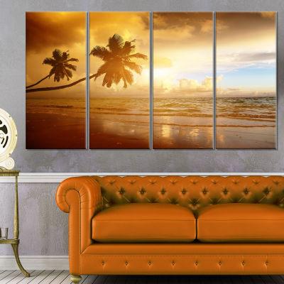Designart Beautiful Palms at The Caribbean BeachExtra LargeSeascape Art Canvas - 4 Panels