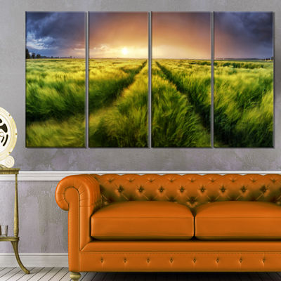 Designart Storm and Light on Meadow Landscape Artwork Canvas- 4 Panels