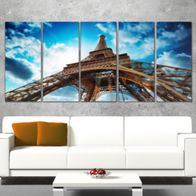 Designart Beautiful Paris Paris Eiffel TowerunderBlue Sky Cityscape Wrapped Canvas Print - 5 Panels