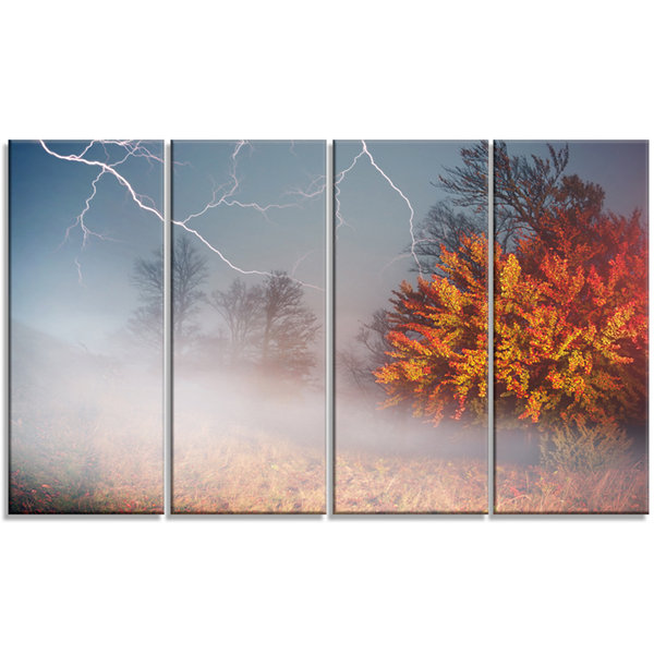 Designart Storm and Lighting in Autumn Forest Landscape Photography Canvas Print - 4 Panels