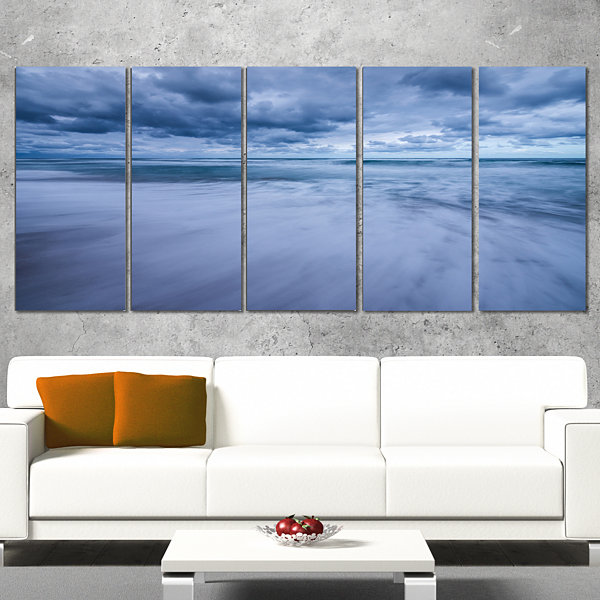 Designart Stormy Clouds Over Ocean Modern SeascapeWrapped Artwork - 5 Panels