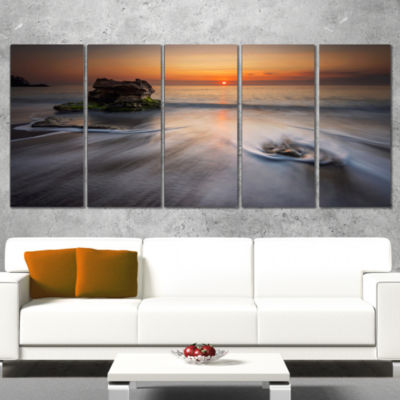 Designart Stormy Sea with Rushing White Waves Beach Photo Canvas Print - 4 Panels