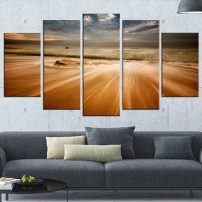 Designart Stormy Sea with Waves Flowing Out BeachPhoto Wrapped Print - 5 Panels