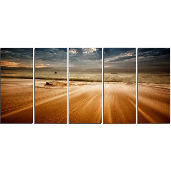 Stormy Sea with Waves Flowing Out Beach Photo Canvas Print - 5 Panels