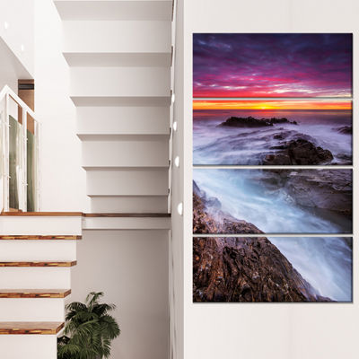 Designart Stormy Seashore with Colorful Sky BeachPhoto Canvas Print - 4 Panels