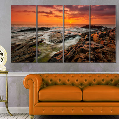 Designart Stormy Waves Rushing into Rocks Beach Photo CanvasPrint - 4 Panels