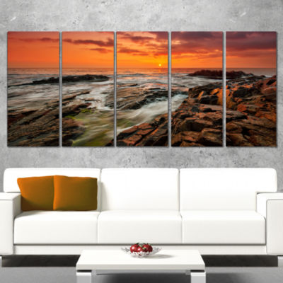 Stormy Waves Rushing into Rocks Beach Photo Wrapped Print - 5 Panels
