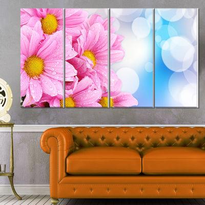 Designart Beautiful Pink Flower Bouquet Large Floral Canvas Artwork - 4 Panels