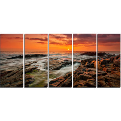 Designart Stormy Waves Rushing into Rocks Beach Photo CanvasPrint - 5 Panels